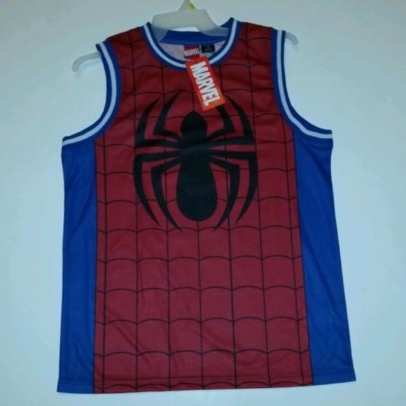 ae7365536056 Marvel Comics Basketball Spiderman Jersey Sz L NWT